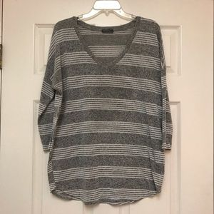 Striped drop shoulder 3/4 sleeve tunic sweater